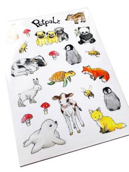 Stickerbogen: Tierkinder
