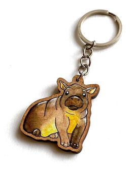 Schlüsselanhänger aus Kirschholz: Nilpferd