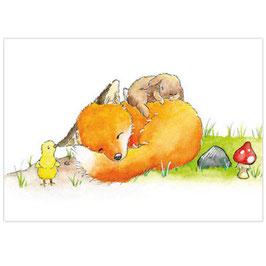 Kunstdruck: Schlafender Fuchs