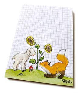 Notizblock DIN A6: Fuchs und Lämmchen
