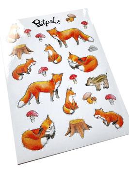 Stickerbogen: Füchse