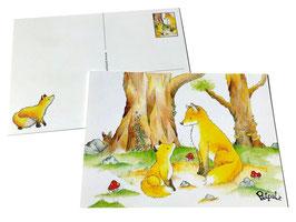 Postkarte: Füchse im Wald