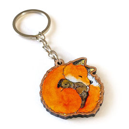 Schlüsselanhänger aus Kirschholz: Fuchs und Hase