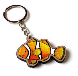 Schlüsselanhänger aus Kirschholz: Clownfisch