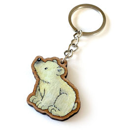 Schlüsselanhänger aus Kirschholz: Eisbär