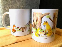 Tasse: Füchse im Wald