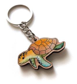 Schlüsselanhänger aus Kirschholz: Schildkröte