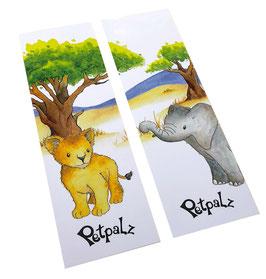 Lesezeichen-Set: Elefant und Löwe