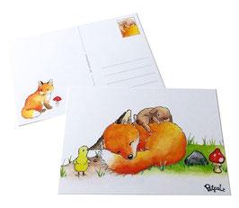 Postkarte: Schlafender Fuchs