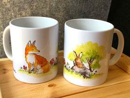 Tasse: Fuchs und Hase
