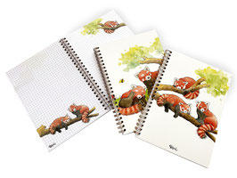 Notizbuch: Rote Pandas, kariert