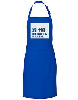 Grillschürze - Chillen Grillen Bierchen Killen - blau