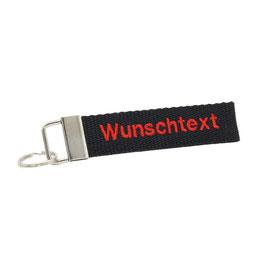 """Schlüsselanhänger grau, beidseitig bestickt - """"Wunschtext"""""""