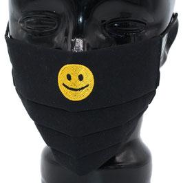 """Behelfsmaske bestickt - """"Smiley"""" - schwarz - KEIN FFP"""