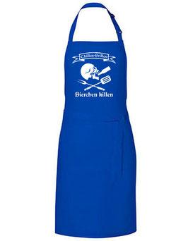 Grillschürze - Skull Chillen Grillen Bierchen Killen - blau