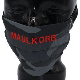 """Behelfsmaske bestickt - """"MAULKORB"""" - camouflage grau - KEIN FFP"""