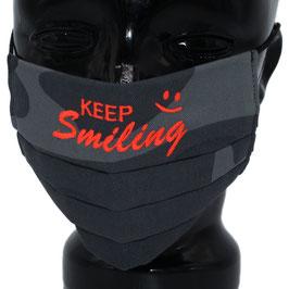 """Behelfsmaske bestickt - """"KEEP Smiling"""" - camouflage grau - KEIN FFP"""