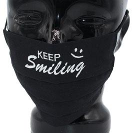 """Behelfsmaske bestickt - """"KEEP Smiling"""" - schwarz - KEIN FFP"""