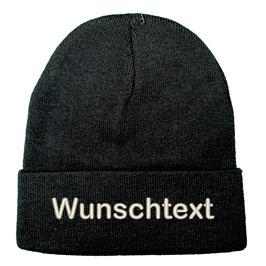 """Beanie bestickt """"Wunschtext"""" - schwarz"""