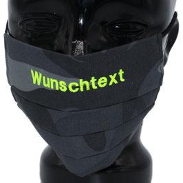"""Behelfsmaske bestickt - """"Wunschtext"""" - camouflage grau - KEIN FFP"""