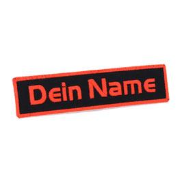"""Patch schwarz - bestickt mit """"Wunschtext"""" - Umrandung farbig - rechteckig"""
