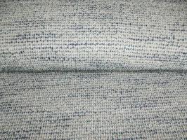 Strickstoff Wolle petrol weiß meliert