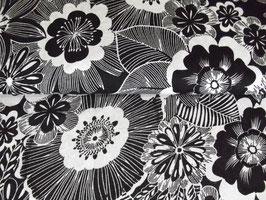 Strickstoff Wolle Blumen schwarz weiß