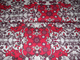 Baumwolle retro Ornamente rot weiß