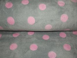 Fleece Wellnessfleece grau rosa Punkte