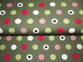 Baumwolle Sterne Punkte olivgrün