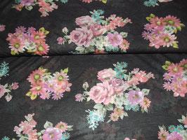 Jersey Blumen schwarz Feinjersey