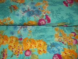 Jersey Blumen Slinky türkis