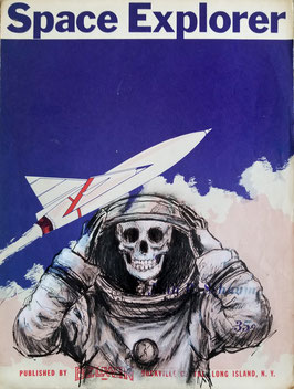 """Space Explorer"" Fine Art Painting on Vintage Sheet Music"