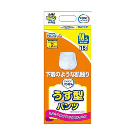 エルモアいちばん はくパンツ薄型 M-L16枚  4セット 1パックが980円(税別)
