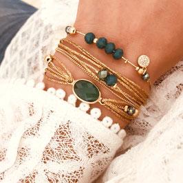 Bracelet PAULA / Vert Tropique Doré