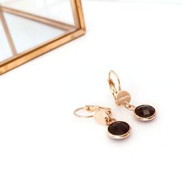 Boucles d'oreille SERTI Coloris Noir / Doré