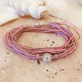 Bracelet ADÈLE / Rose Plaqué Argent