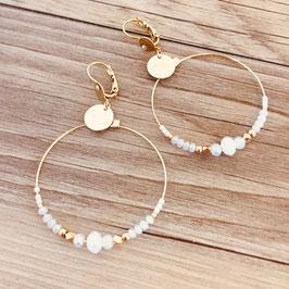 Boucles d'oreilles CHLOE / Coloris Blanc Opal Doré