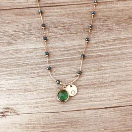 Collier PABLO / Vert tropique Doré