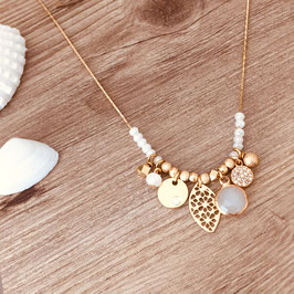 Collier ANNA / Blanc Opal doré