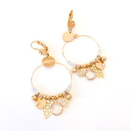 Boucles d'oreille SASHA / Coloris Blanc Opal Doré