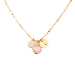 Collier IGOR / Rose opal Doré