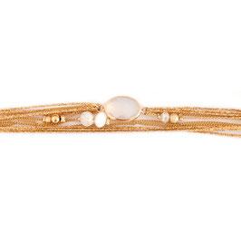 Bracelet JULES / Blanc Opal doré