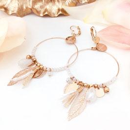 Boucles d'oreilles GIPSY / coloris Blanc Doré