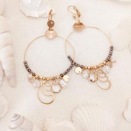 Boucles d'oreilles CALYPSO / Gris metalisé et Blanc opal