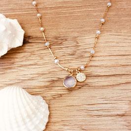 Collier PABLO / Blanc Opal Doré