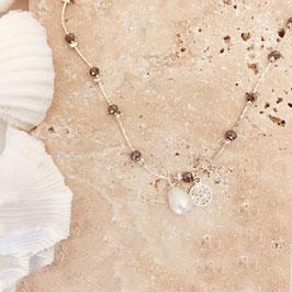 Collier PABLO/ Gris metalisé et perle d'eau douce Argenté