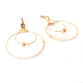 Boucles d'oreilles OLIVIA /  Rose Opal Doré