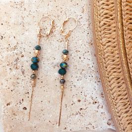 Boucles d'oreilles ANNABELLE / Vert Tropique Doré