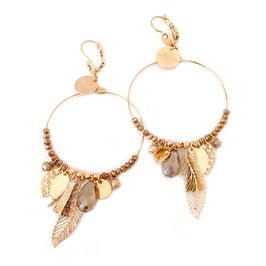 Boucles d'oreilles GIPSY / Pyrite  doré